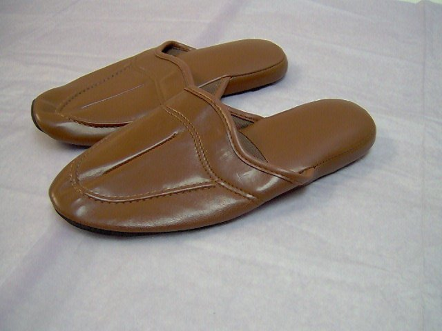 House shoes for adult male,open back, bk,br,tan, size 7,8,9,10,11,12,13