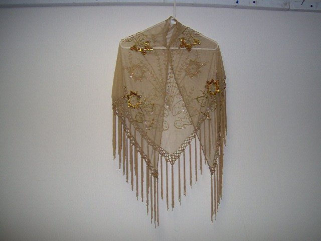 Women's Evening Shawl beige with fringes,sequins and beads,floral design
