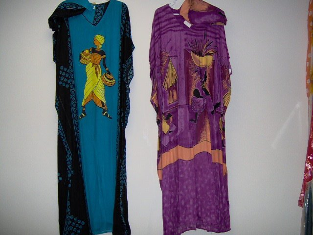 "poly rayon print/solid color kaftan for adult female, fits up to 54"" chest purple,blue,one size"