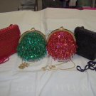 female sequin and beaded evening purse, red,green,bk,-tear drop,metal chain strap