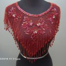 Red sequin/beaded collar for ladies w/beaded fringes, one size fits most