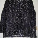 Ladies black ribbon jacket w/beads scroll desiggs, size 18