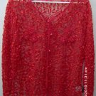 Ladied red ribbon jacket for formal wear w/sequins & beads, size 14