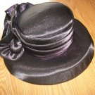 women dressy black ,burg,br, wh, red,satiny church hats