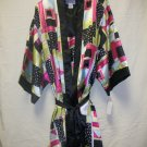 Women's 2pc shorty gown & robe set with tie belt, multi-color pink/limeblue/black, size xl