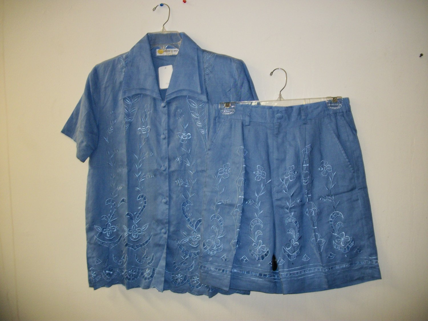 2pc blue 100% linen short set for ladies, knee length shorts, embroidery on blouse & shorts