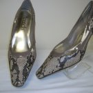 "ladies snake design taupe pump by amanda - wide width, size 11w,2"" heel"