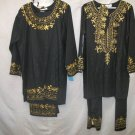 3pce His/Hers black pant /skirt sets with gold embroidery,kuphi/scarf wrap, 100% rayon,