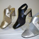 Whitney shoes by Amanda,colors= champ,silver,black,sheer strip on toe,open back w/strap,sz 6 - 11