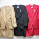 shauntagn 3pc ladies suits w/broach , sizes 6,8,10 12,14,16,18,20,22,24,26,red,bk,nvy,gd,roy,wh,iv,