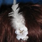 Louisa Fascinator T4 White on comb