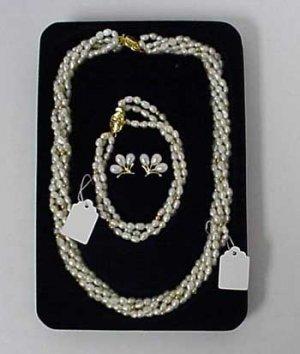Beautiful Genuine Pearl Necklace & Bracelet & Earring Set - Retail $149.95