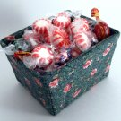 Handmade Fabric Covered Berry Basket in Green and Pink Floral