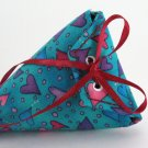 Fun pink and purple Heart Fabric Blue Gift Pouch or Envelope