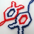 2 Patriotic Fish Decorations Red White Blue