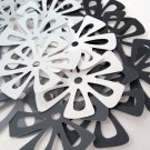 21 Large Flower Embellishments in Black Gray White