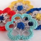 Colorful set of 6 Upcycled Pop Cap Can Tab Flower Ornaments