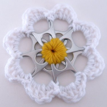 Yellow White Daisy Recycled Can Tab Christmas Flower Ornament
