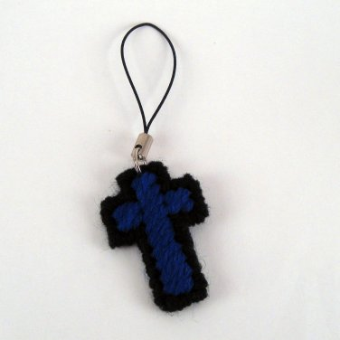 Cross Charm Rich Blue and Black