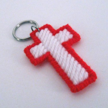 Cross Key Ring in Red and White