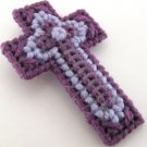 Triple Cross in Shades of Purple Christian Cross Ornament
