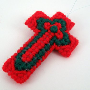 Red and Green Christian Christmas Cross Ornament