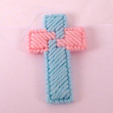 Handmade Double Sided Card Trick Cross Ornament