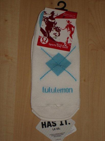 Lululemon Sports Day Sock Coolmax NWT Sz7-10 White/Blue *PLUS BONUS CASH BACK!*