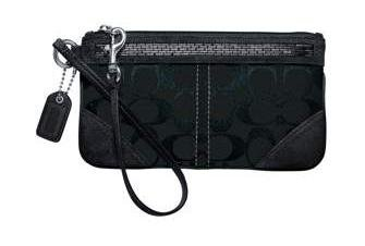 COACH Signature Beaded Wristlet Bag Clutch Wallet NWT Black *PLUS BONUS CASH BACK!*