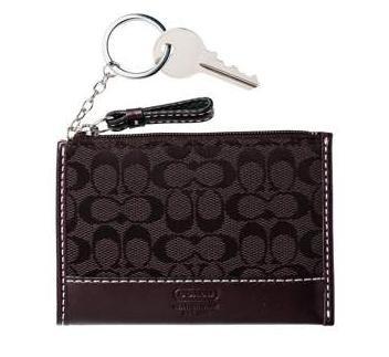 COACH Soho Signature Mini Skinny Wallet KeyChain NWT Dark Brown *PLUS BONUS CASH BACK!*