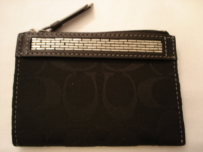 COACH Signature Beaded Mini Skinny Wallet NWT Black *LIMITED EDITION* *PLUS BONUS CASH BACK!*