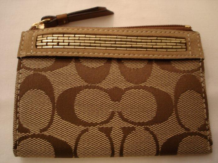 COACH Signature Beaded Mini Skinny Wallet NWT Khaki/Camel *LIMITED EDITION*PLUS BONUS CASH BACK!*
