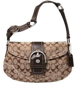 COACH Soho Signature Flap Purse Bag 10603 NWT Khaki/Chestnut *PLUS BONUS CASH BACK!*