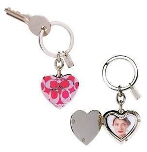 COACH Giant Signature Locket Heart KeyFob KeyChain NWOT #92053 Pink/Silver *PLUS BONUS CASH BACK!*