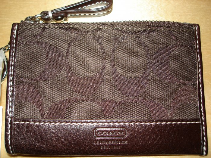 COACH Hamptons Signature Mini Skinny Wallet KeyChain NWT Dark Brown *PLUS BONUS CASH BACK!*