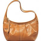 Coach Ergo Signature Pleated Hobo Purse Handbag NWT Brass/Natural #12235