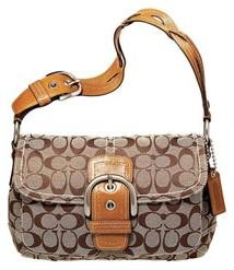 Coach Soho Signature Pocket Flap Purse Handbag NWT Khaki/Camel #11862