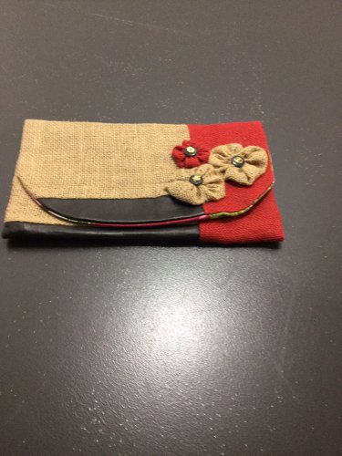 Natural/Red Upcycled Burlap Jute Clutch Purse