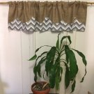 Natural Burlap/Chevron Valance/Curtain