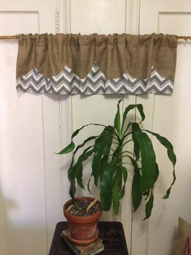 Natural Burlap/Chevron Valance/Curtain