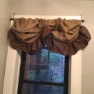 Natural/Dark Brown Burlap Rustic Farmhouse Tie Up Balloon Style Valance /Curtain