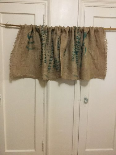 Upcycled Coffee Beans Bag Valance, Recycled Coffee Beans Bag Valance,
