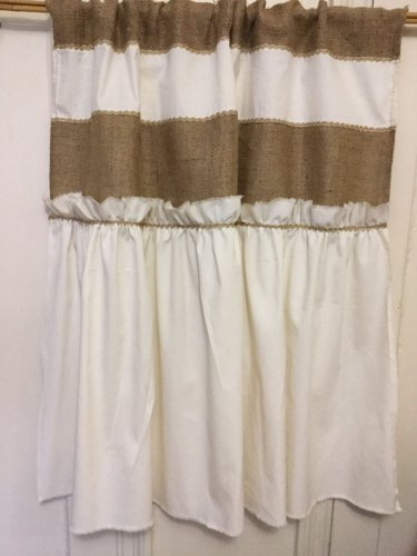 Burlap/Muslin Primitive Tattered Ruffle French Country Shabby Chic Valance