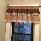 Natural/Dark Brown Burlap Ruffle Valance With White Lace