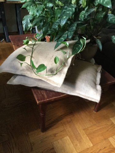 """Fully Lined And  Tie Closure, Natural Burlap Shams 26 """"X 26"""" With 1"""" Flange"""