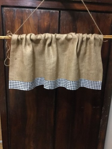 """Natural Burlap French Country Valance With 2 1/2"""" Black White Gingham Border"""
