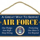 """US Air Force 5"""" x 10"""" Military Wood Sign Plaque ~ Made in USA ~"""