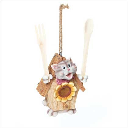 Cat Birdhouse with Fork and Spoon  37617