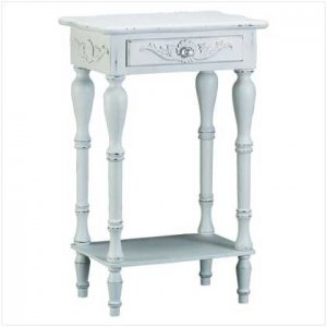 Carved White Side Table  34353