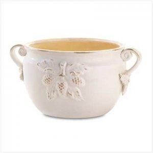 White Porcelain Bowl Planter  37045